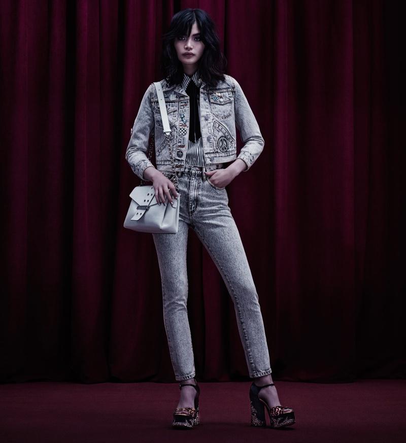 Marc Jacobs Embellished Cotton Denim Jacket, Embellished Acid-Wash Jeans, Appliquéd Calfhair & Leather Platform Sandals and Lock & Strap Shoulder Bag
