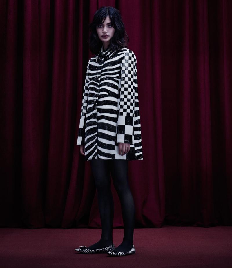 Marc Jacobs Checked & Zebra-Print Wool Coat and Interlocking J Calf Hair Flats