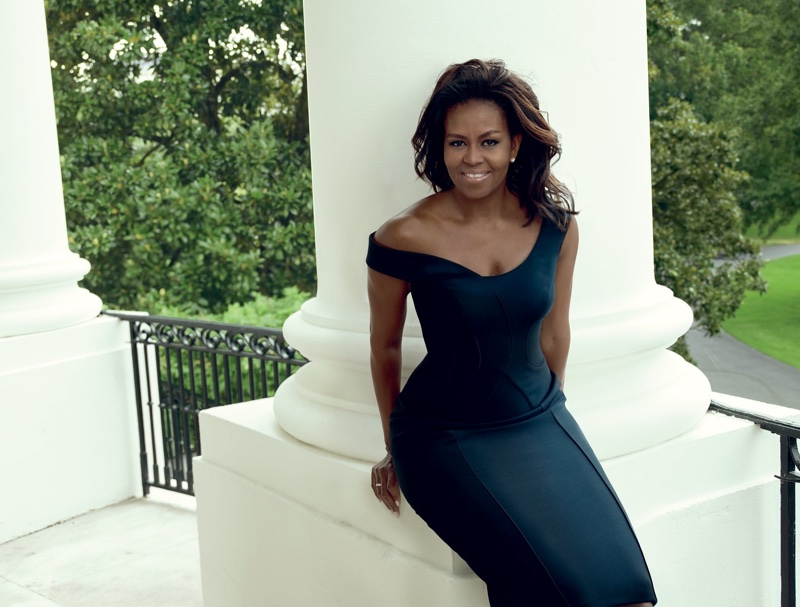 First Lady of the United States Michelle Obama wears Atelier Versace dress. Photo: Annie Leibovitz/VOGUE