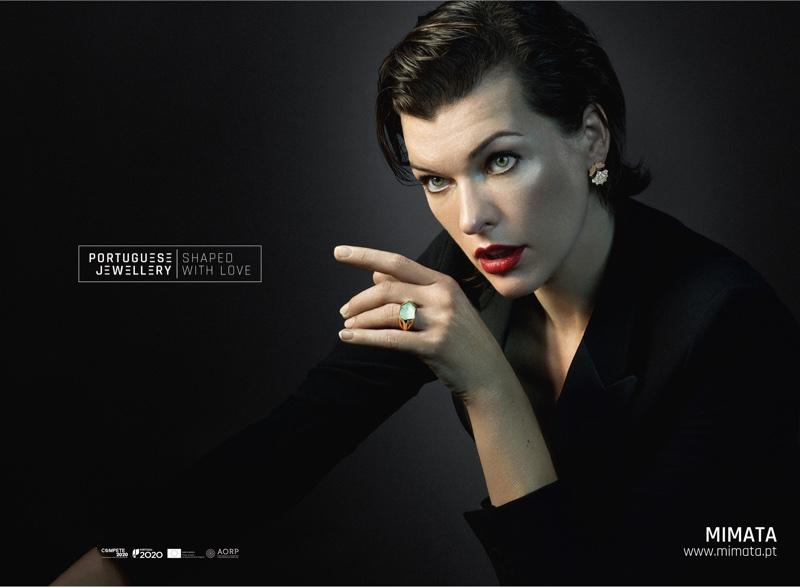 Serving pure elegance, Milla Jovovich wears Mimata jewelry