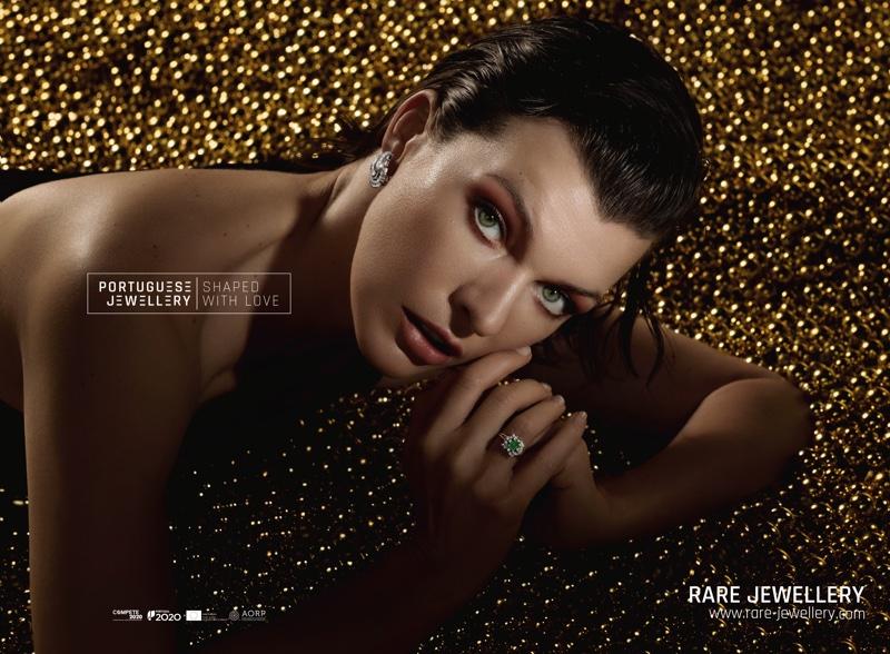 Getting her closeup, Milla Jovovich wears Rare Jewellery