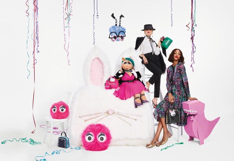 Miss Piggy & Jourdan Dunn Front Kate Spade's Holiday Campaign