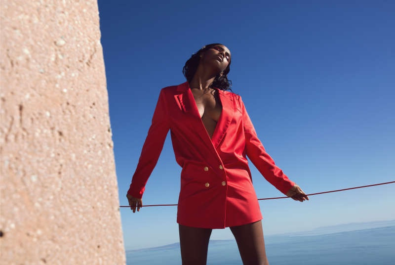 Missguided Peace + Love Red Satin Button Blazer Dress