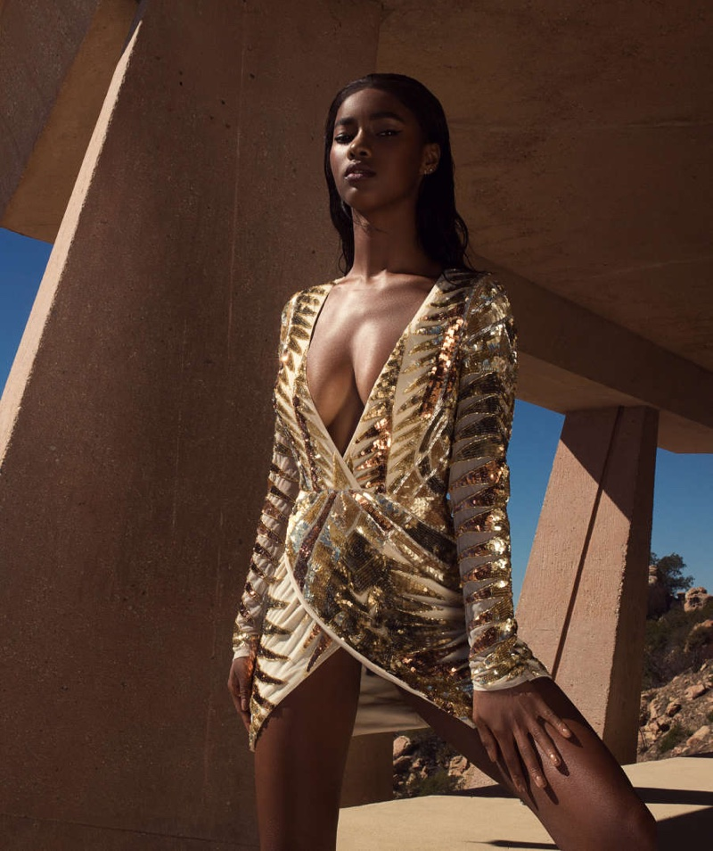 Missguided Peace + Love Gold Embellished Wrap Dress