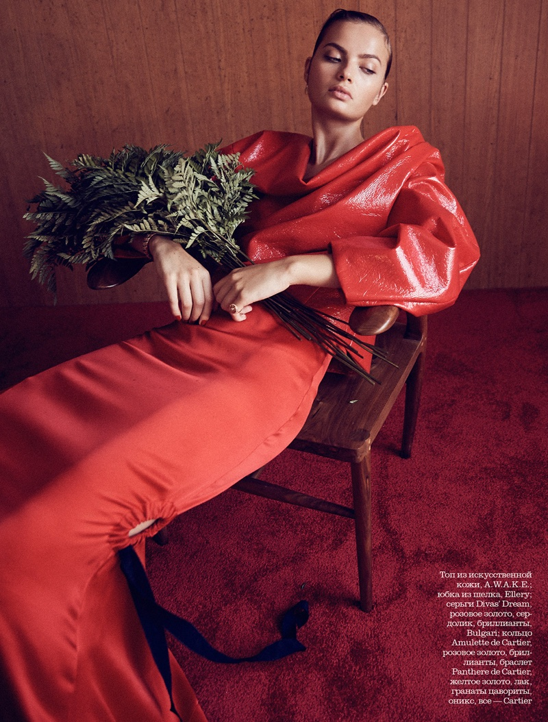 Moa Aberg Shows How to Wear Head-to-Toe Red in ELLE Russia