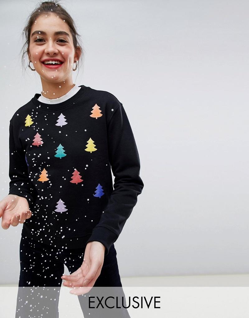 Monki Xmas Sweater with Rainbow Trees $32