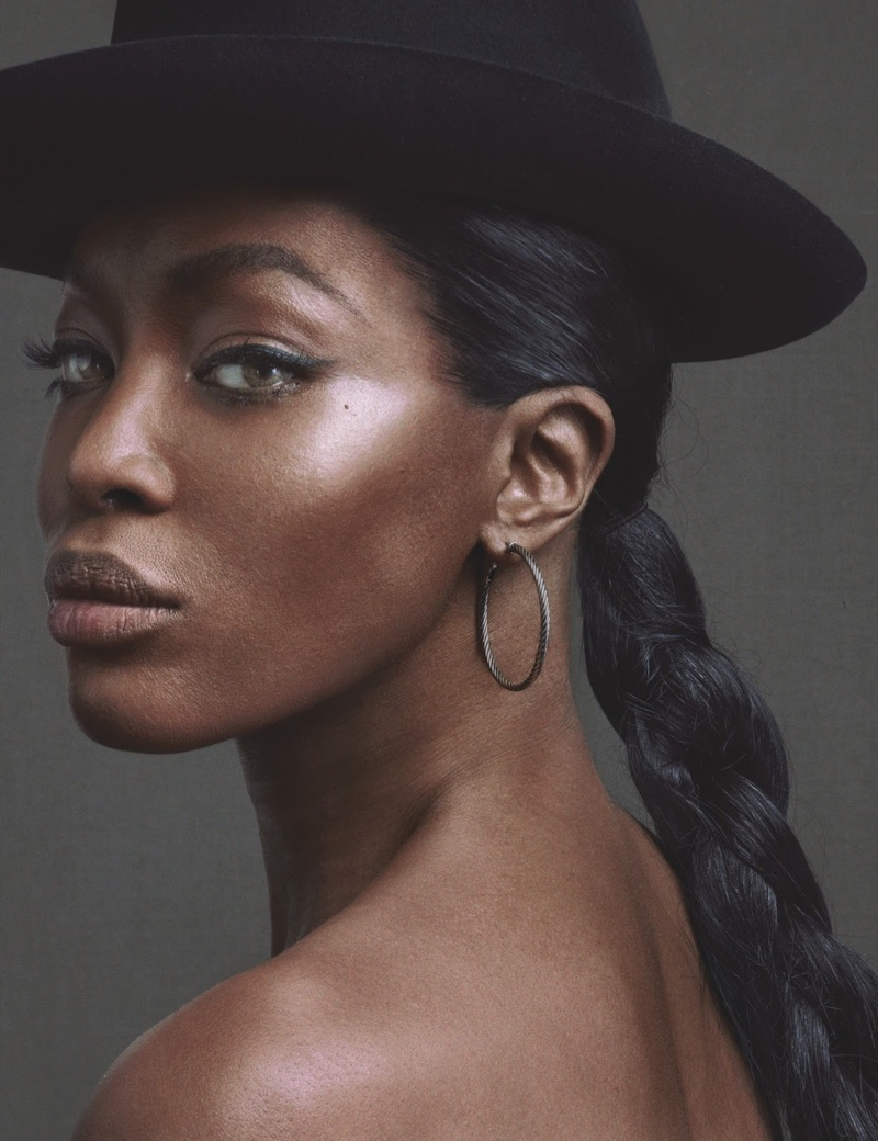 Getting her closeup, Naomi Campbell wears Stetson hat and David Yurman earrings