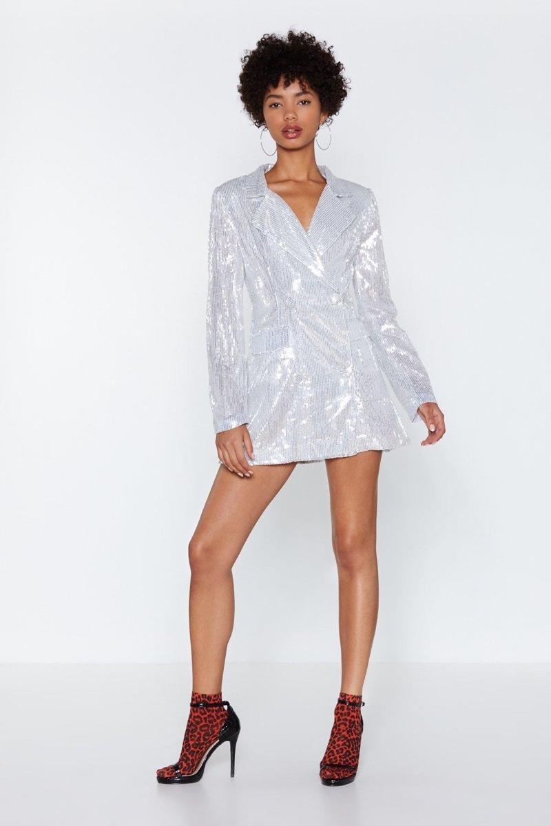Nasty Gal Back in a Flash Sequin Blazer Dress $50