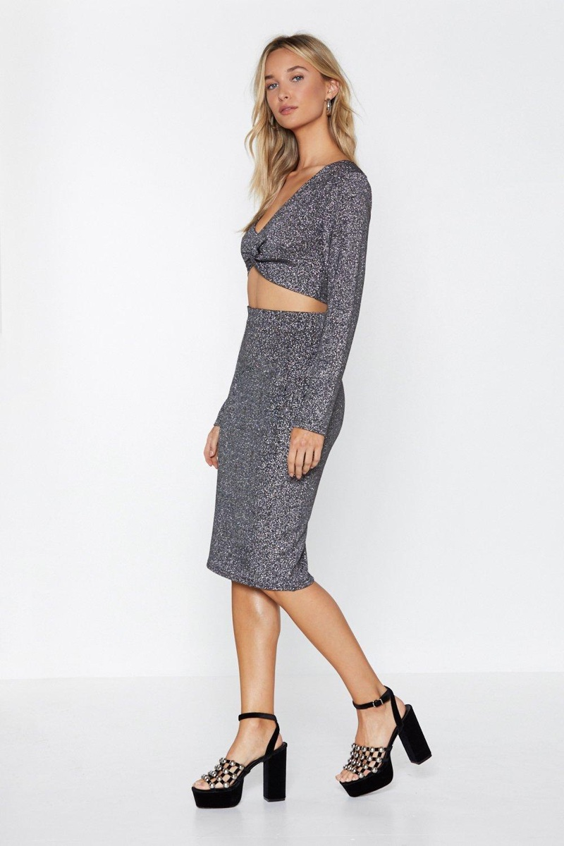 Nasty Gal Love Game Glitter Crop Top and Skirt Set $30
