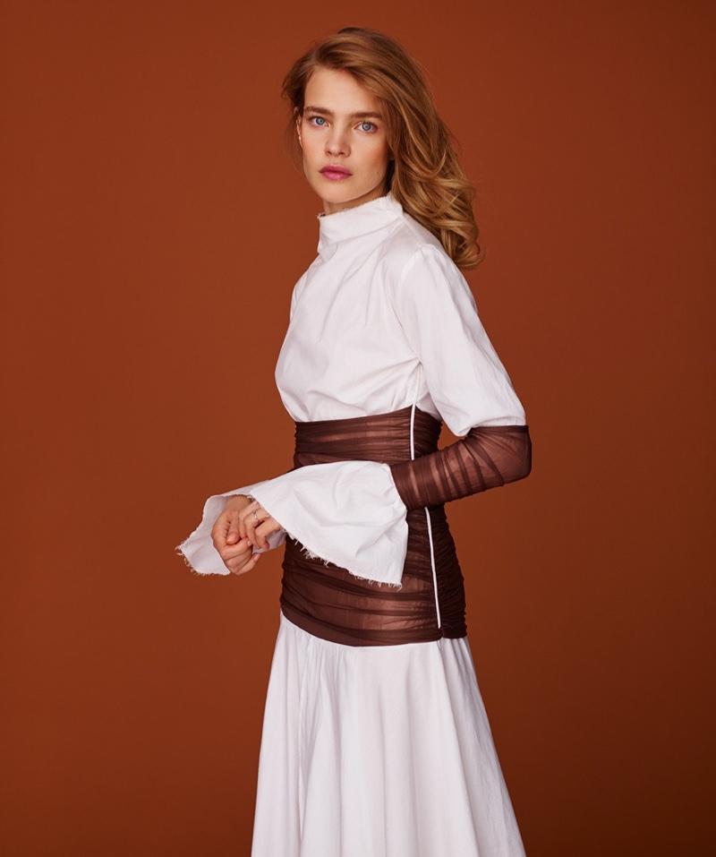 Photographed by Thomas Whiteside, Natalia Vodianova poses in elegant looks for the fashion editorial