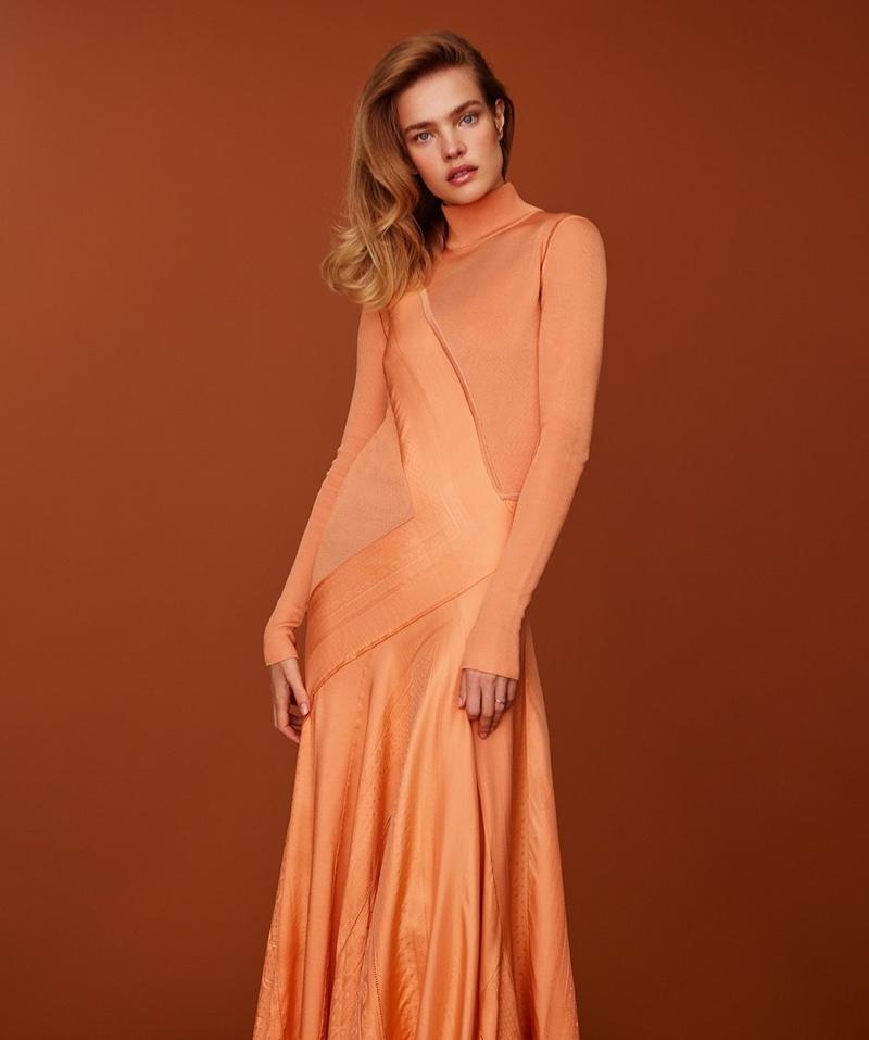 Model Natalia Vodianova strikes a pose in Hermes dress