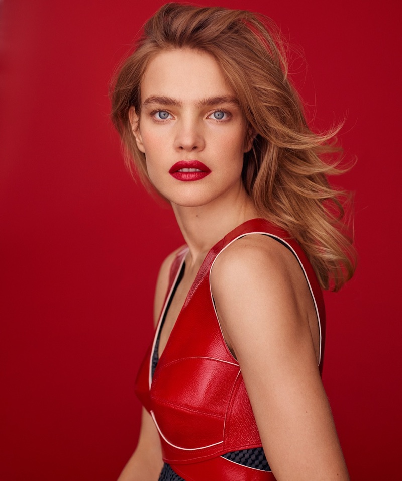 Looking red-hot, Natalia Vodianova poses in Louis Vuitton bra top and dress