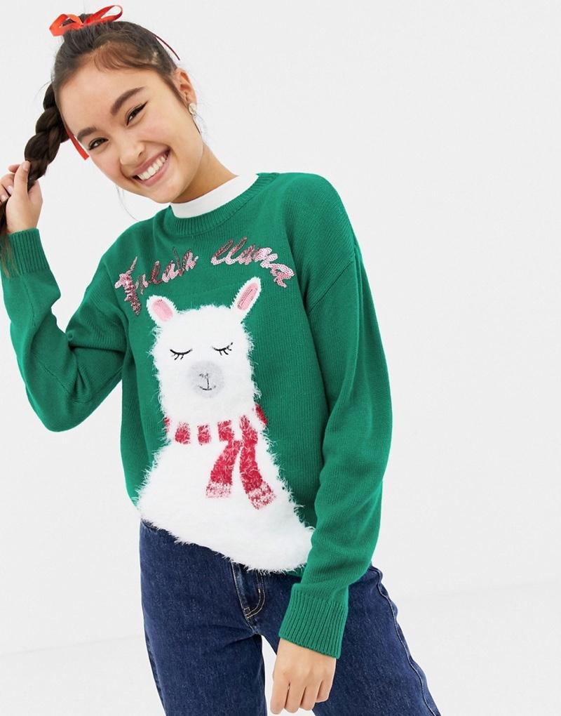 New Look Llama Holidays Sweater $32