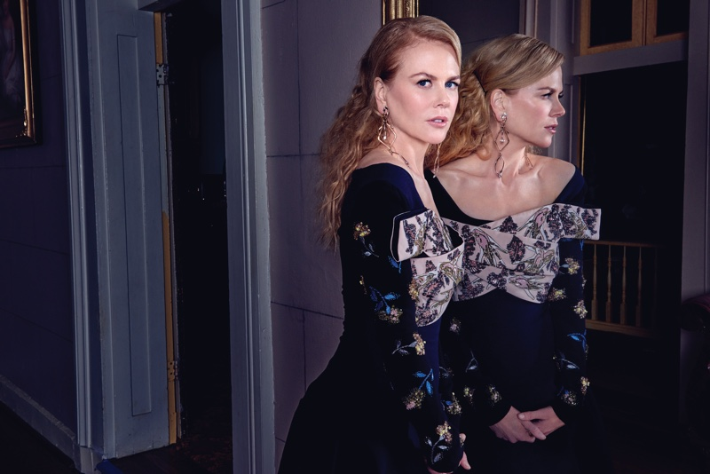 Actress Nicole Kidman poses in Dior dress and Louis Vuitton earrings