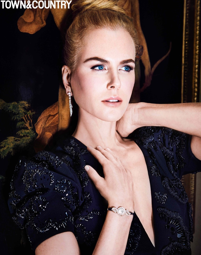 Actress Nicole Kidman poses in Dior Haute Couture dress with Tiffany & Co. jewelry