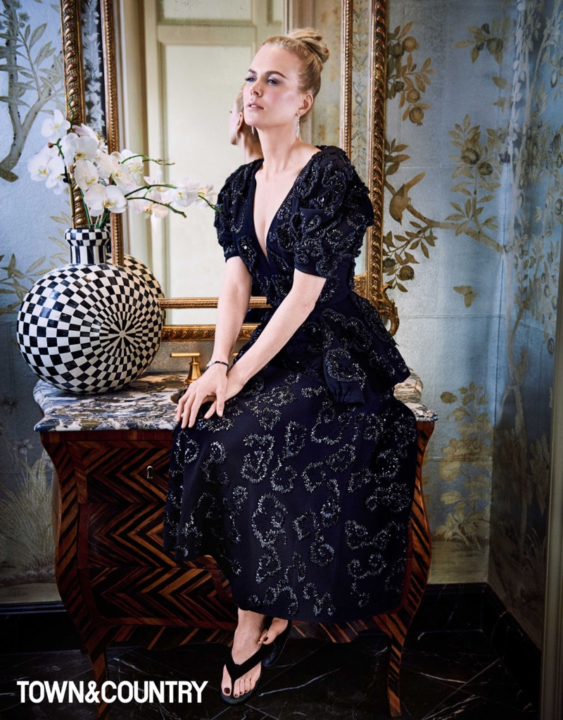 Nicole Kidman Sparkles in Dior Haute Couture for Town & Country Magazine