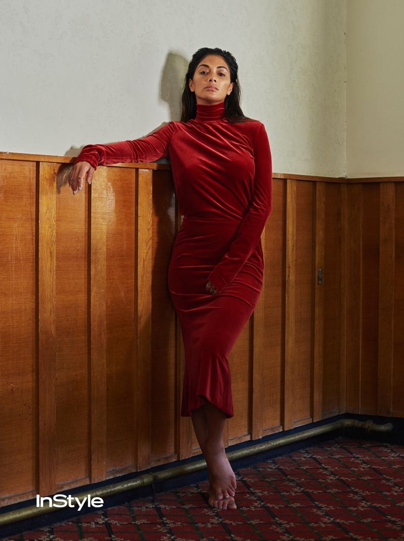 Nicole Scherzinger models long-sleeve turtleneck velvet dress