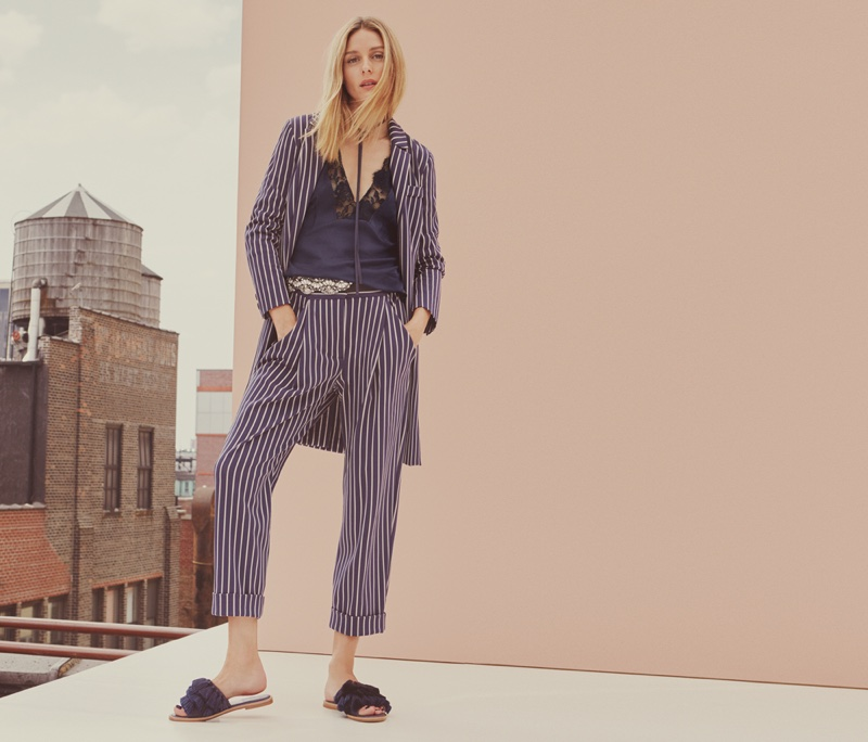 Style star Olivia Palermo wears striped jacket, camisole top and cropped trousers from MAX&Co.