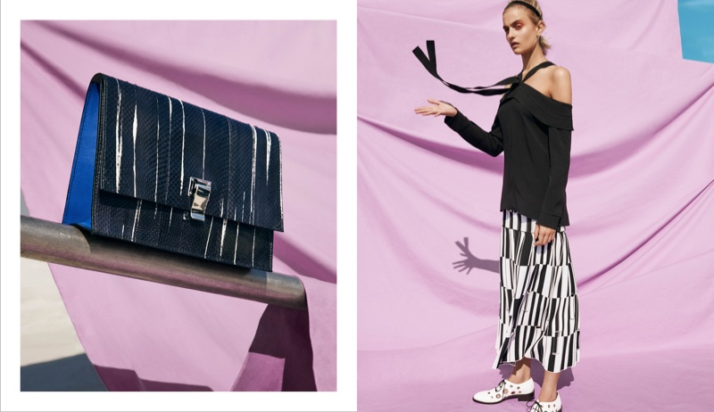 (Left) Proenza Schouler Small Lunch Bag (Right) Proenza Schouler Off-the-Shoulder Halter Tie Neck Top, Jacquard Knife-Pleated Long Skirt and Grommet-Embellished Oxfords