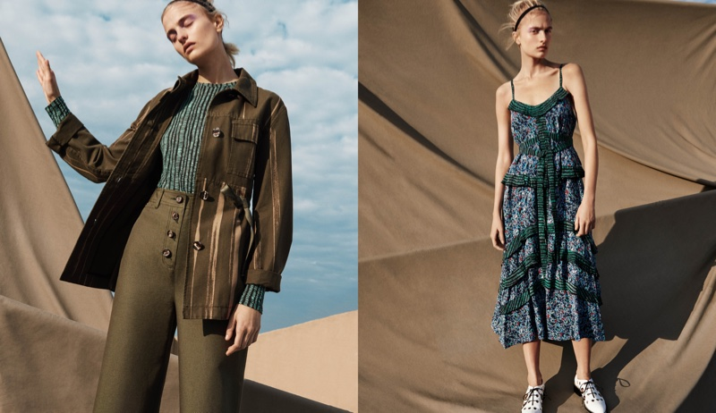 (Left) Proenza Schouler Striped Canvas Safari Jacket, Cotton Long-Sleeve T-Shirt and Button-Fly Canvas Culottes (Right) Proenza Schouler Abstract-Print Silk Georgette Maxi Dress and Grommet-Embellished Oxfords