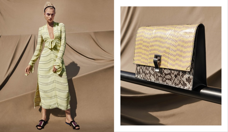(Left) Proenza Schouler Striped Gauze V-Neck Long Dress and Fringed Raffia & Leather Slides (Right) Proenza Schouler Small Lunch Bag