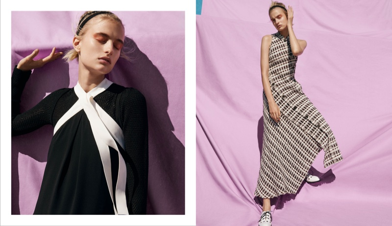 (Left) Proenza Schouler Halter Tie-Neck Top and Open-Stitched Long-Sleeve Top (Right) Proenza Schouler Bias-Cut Plaid Tweed Long Dress and Grommet-Embellished Oxfords