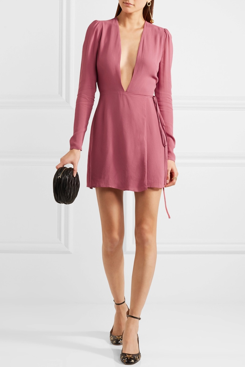Reformation Georgette Wrap Mini Dress