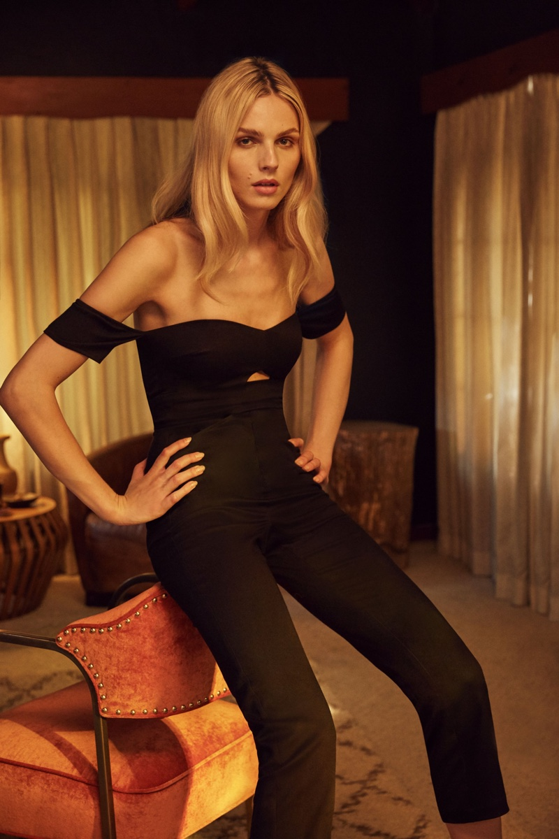 Andreja Pejic wears black jumpsuit from Reformation