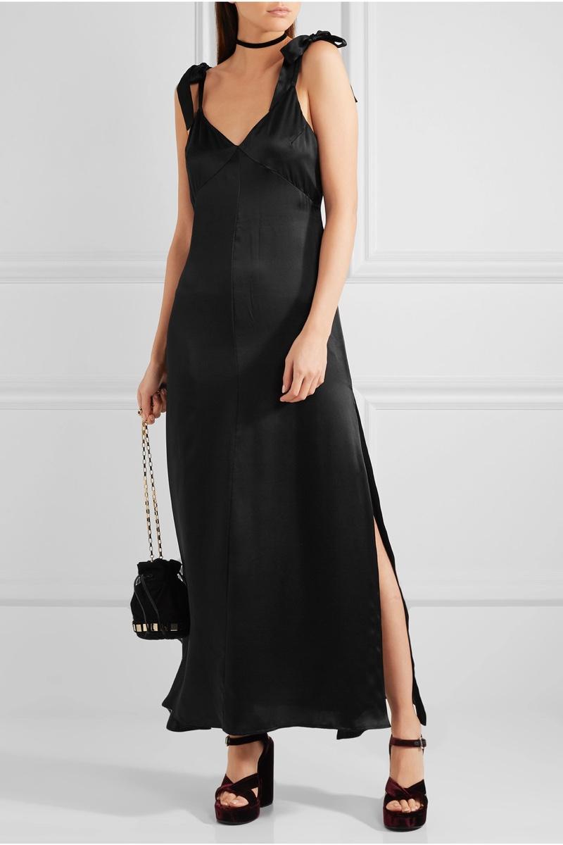 Reformation Silk Maxi Dress in Black