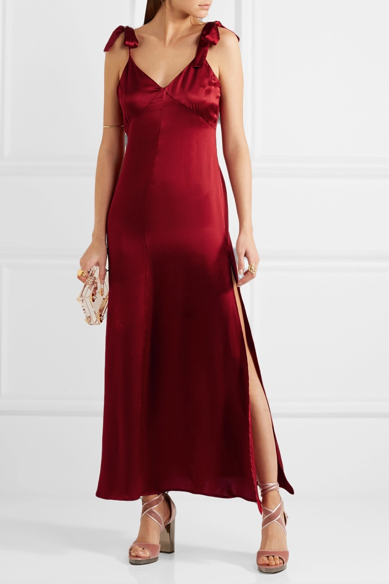 Reformation Silk Maxi Dress in Red