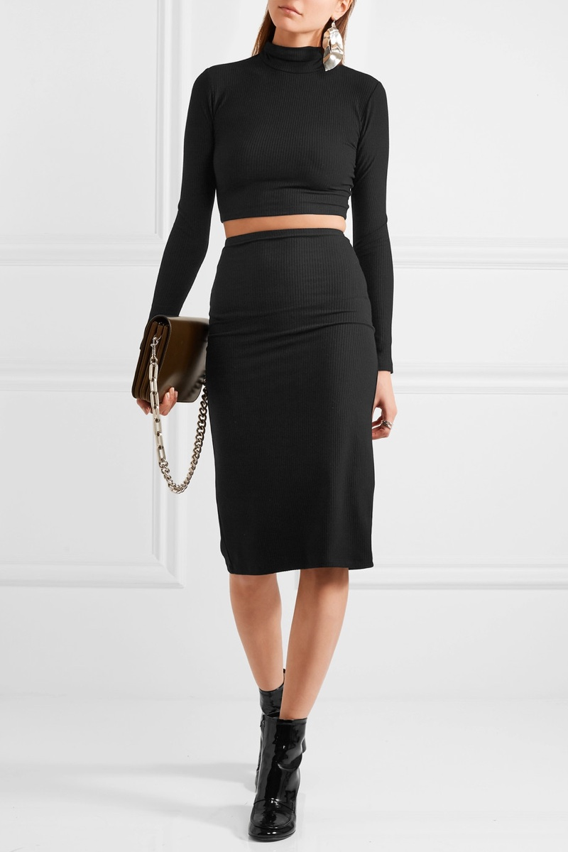 Reformation Two-Piece Ribbed Jersey Dress