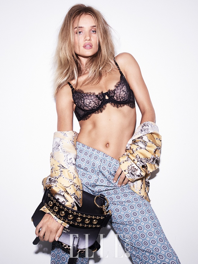 Stripping down, Rosie Huntington-Whiteley wears lace bra with pajama separates from Burberry
