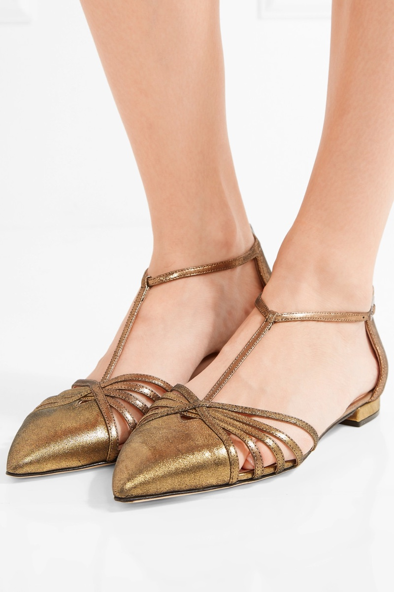 SJP by Sarah Jessica Parker Carrie Metallic Leather Point Toe Flats