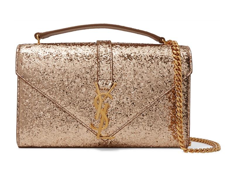 Saint Laurent Monogramme Small Glittered Canvas Shoulder Bag $1,990