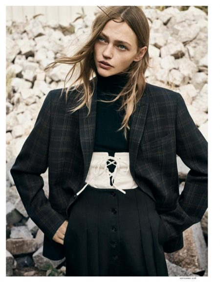 Sasha Pivovarova Looks Sharp in Menswear Inspired Styles for Vogue Paris