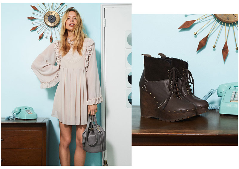 (Left) See by Chloe Ruffle Dress and Vicki Bucket Bag (Right) See by Chloe Clive Platform Lace Up Booties
