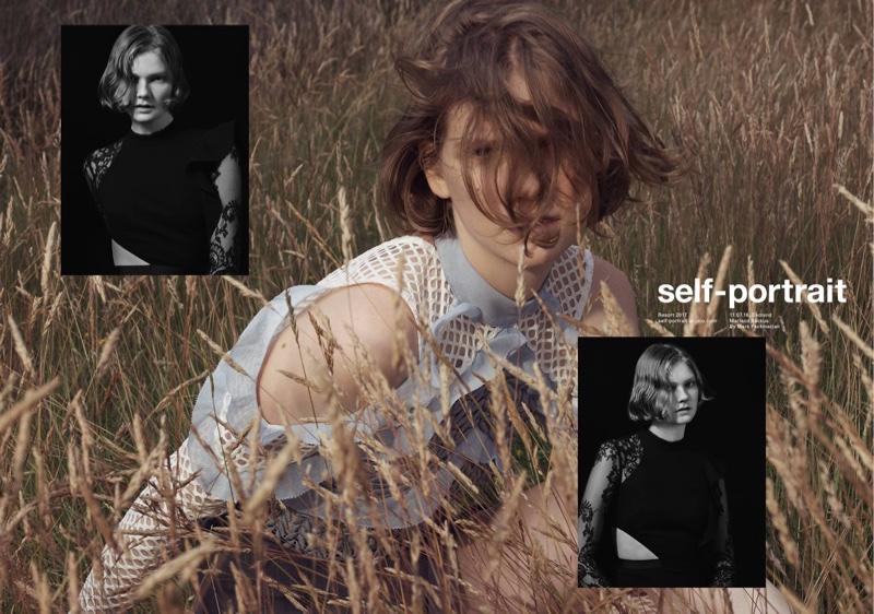 Marland Backus stars in Self-Portrait's resort 2017 campaign