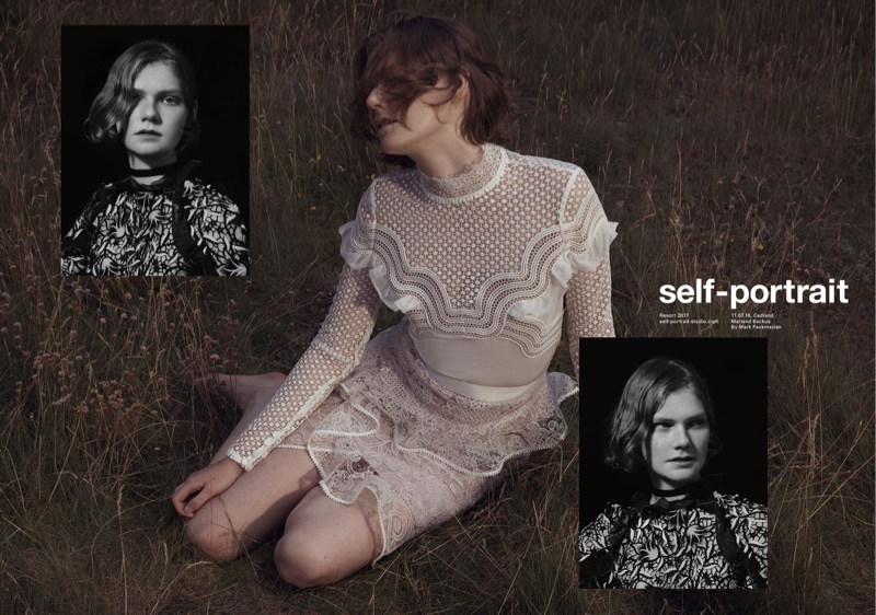Embracing its signature lace, Self-Portrait features Wave Trim top and Ophelia skirt in resort 2017 campaign