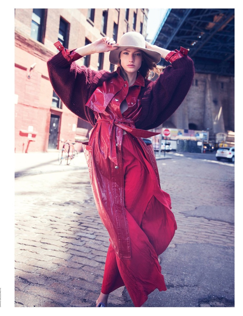 Looking red-hot, Susanne Knipper models Atos wool-blend coat, Isabel Marant lacquered coat, Forte Forte silk skirt and Reinhard Plank hat