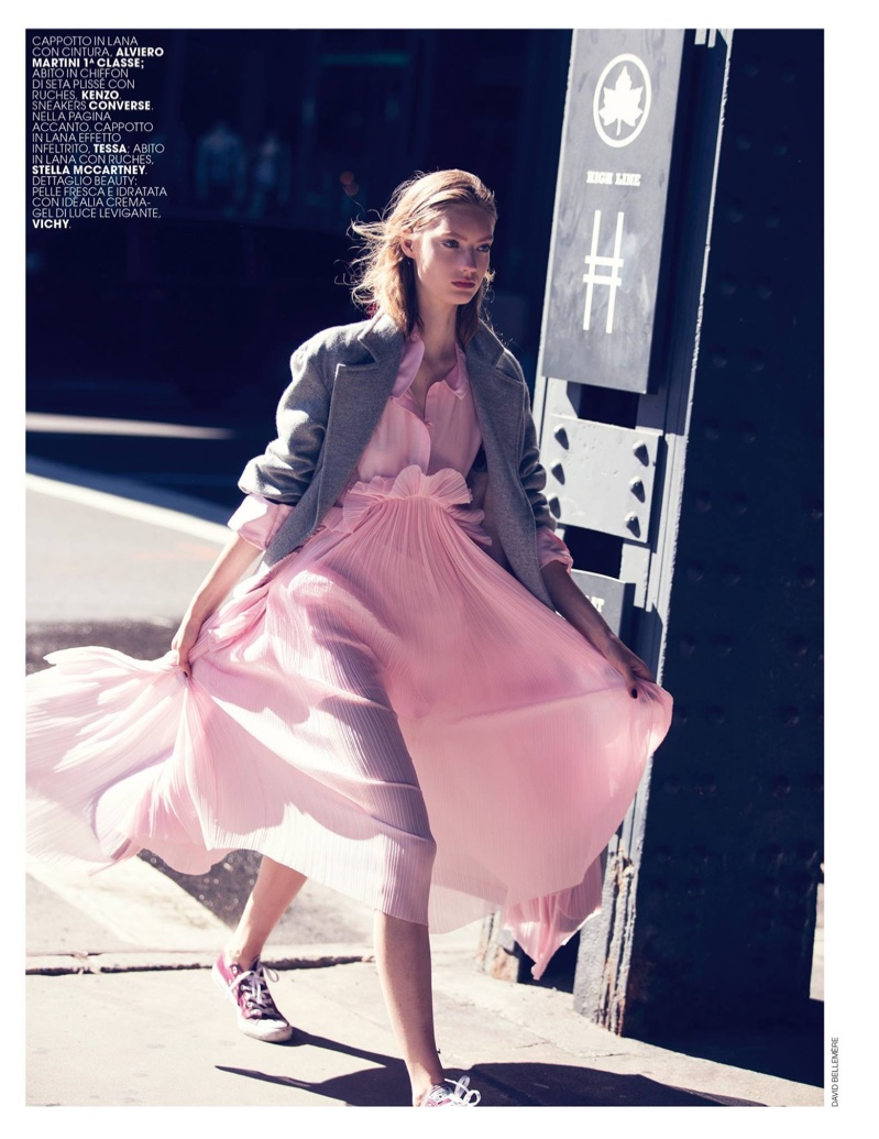 Looking pretty in pink, Susanne Knipper wears Alviero Martinini 1^ Classe wool jacket with Kenzo chiffon dress and Converse sneakers