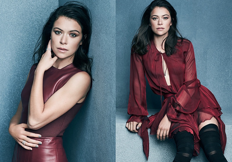(Left) Tatiana Maslany wears Hermès top and skirt (Right) The actress poses in Alexandre Vauthier dress and Christian Louboutin boots