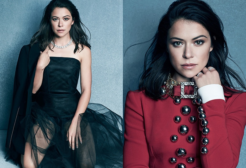 (Left) Tatiana Maslany gets glamorous in Calvin Klein Collection jacket and Dolce & Gabbana skirt (Right) The actress wears Dolce & Gabbana embroidered coat