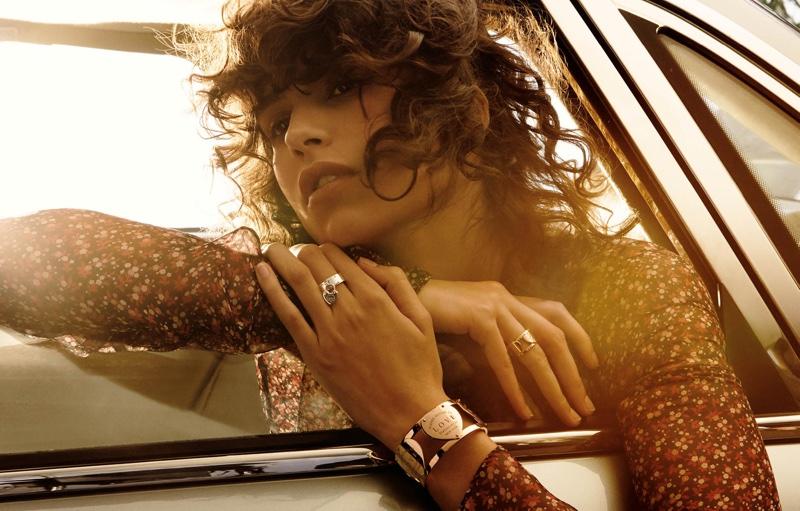 Model Mica Arganaraz wears Tiffany & Co. Return to Tiffany® Love wide hinged cuff, wide ring and lock ring