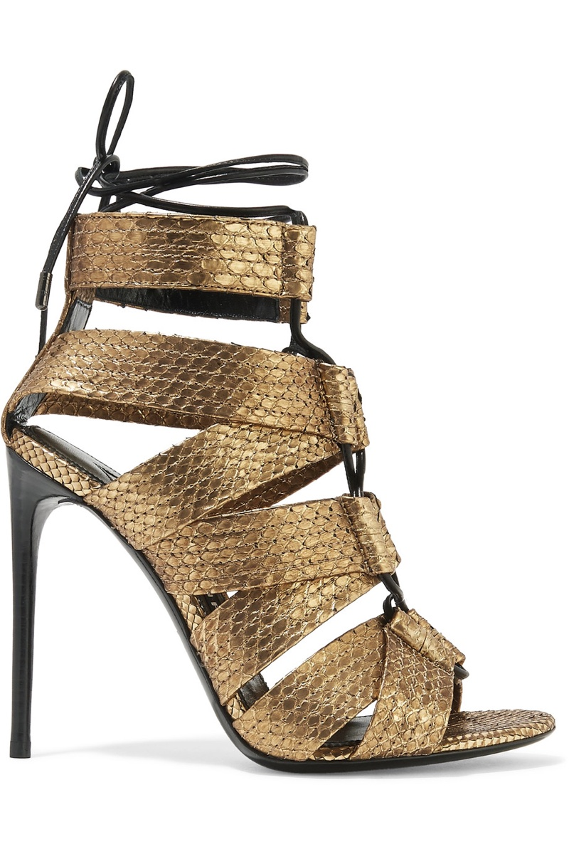 Tom Ford Lace-up Metallic Python Sandals $1,950