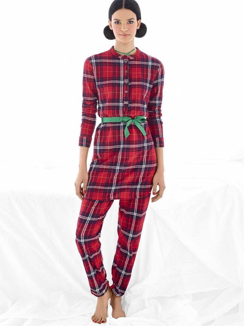 Austria Ulloa models plaid pajamas from Undercolors of Benetton