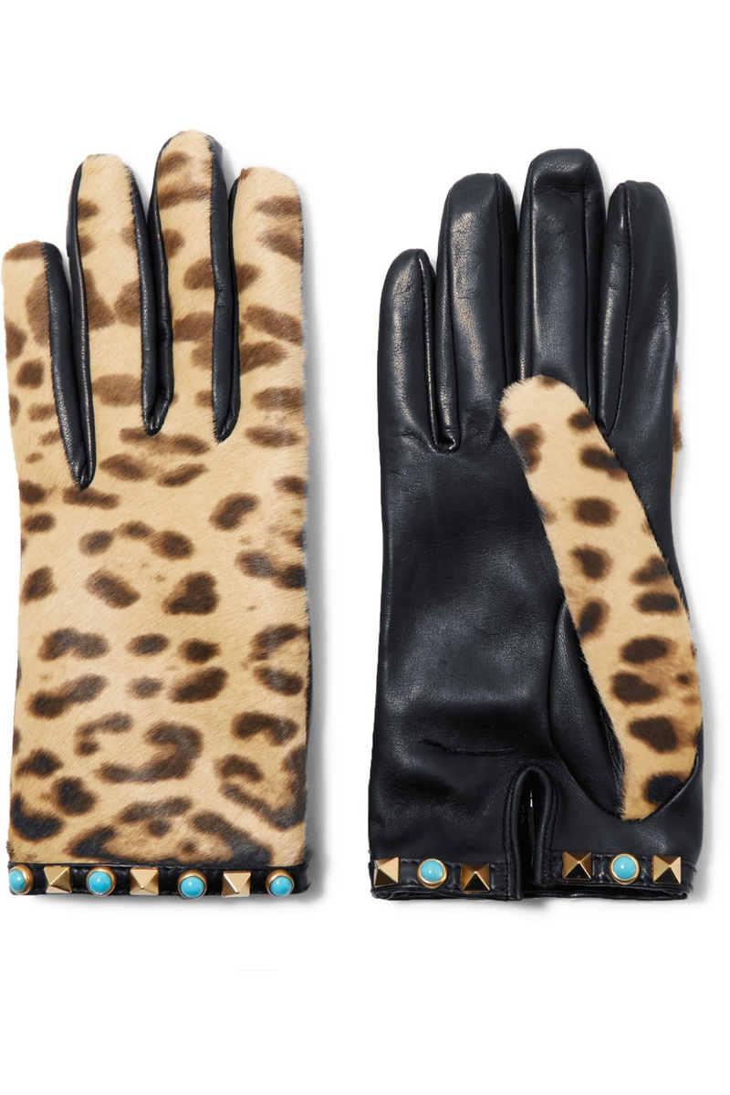Valentino Embellished Leopard Print Calf Hair Leather Gloves $575