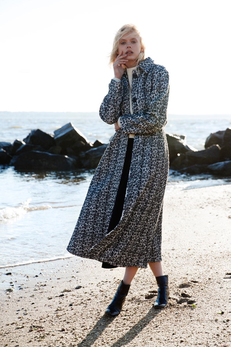 Ellery Disciple Oversized Wrap Coat, Noon by Noor Lark Knit Cropped Jumper, Marna Ro Sawyer Skirt and Ellery Sacred Crop Ankle Boot wth Round Perspex Heel