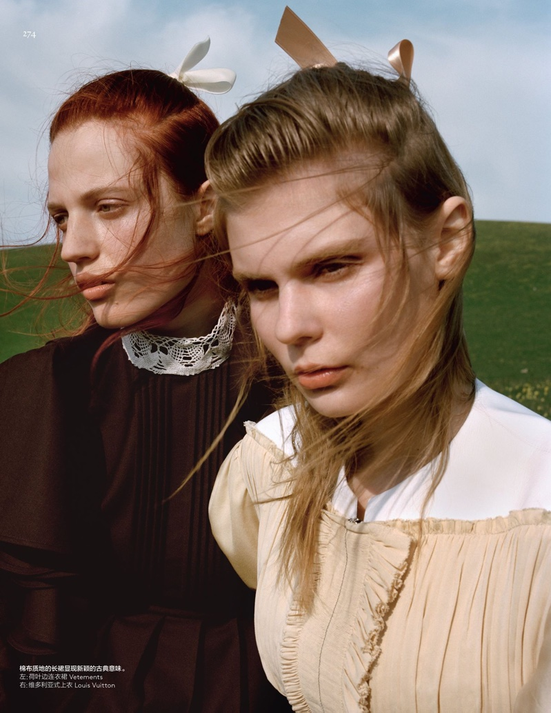 Alexandra Elizabeth models Louis Vuitton top, Julia Banas poses in Vetements dress