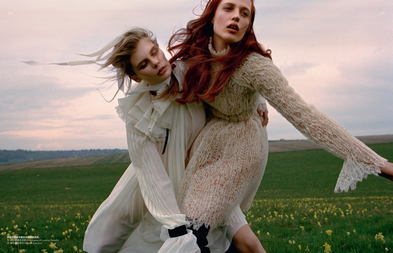 Alexandra Elizabeth & Julia Banas Model Gorgeous Dresses for Vogue China