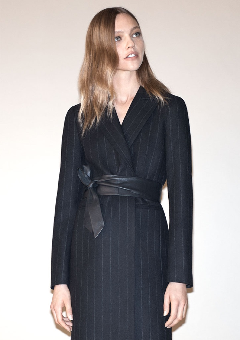 Sasha Pivovarova Keeps Warm in Zara's Cozy Winter Coats